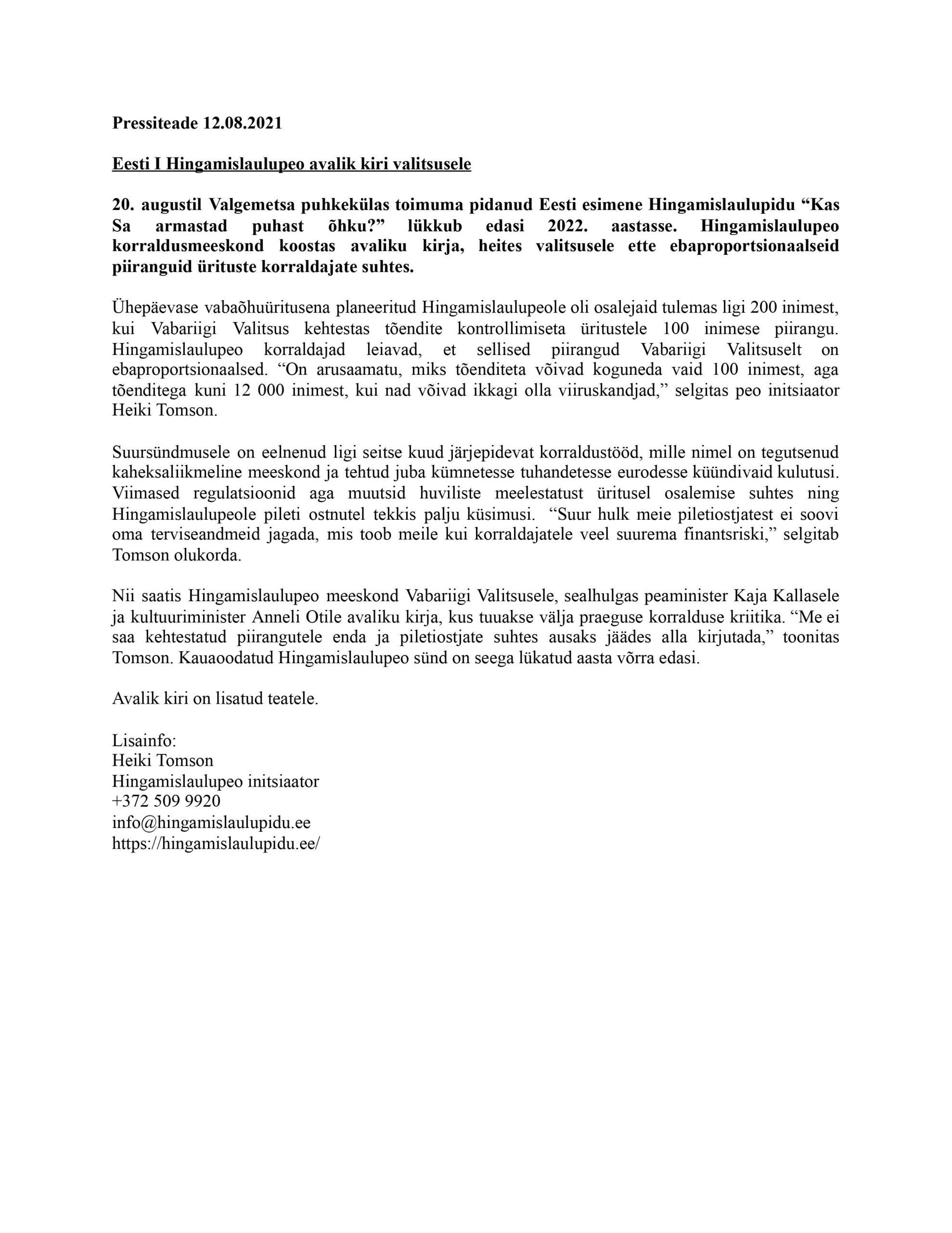 Hingamislaulupeo avalik kiri Vabariigi Valitsusele